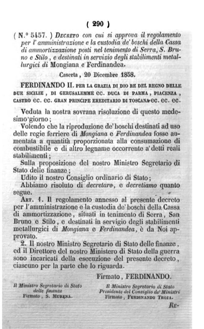1858 decreto Mongiana e San Bruno