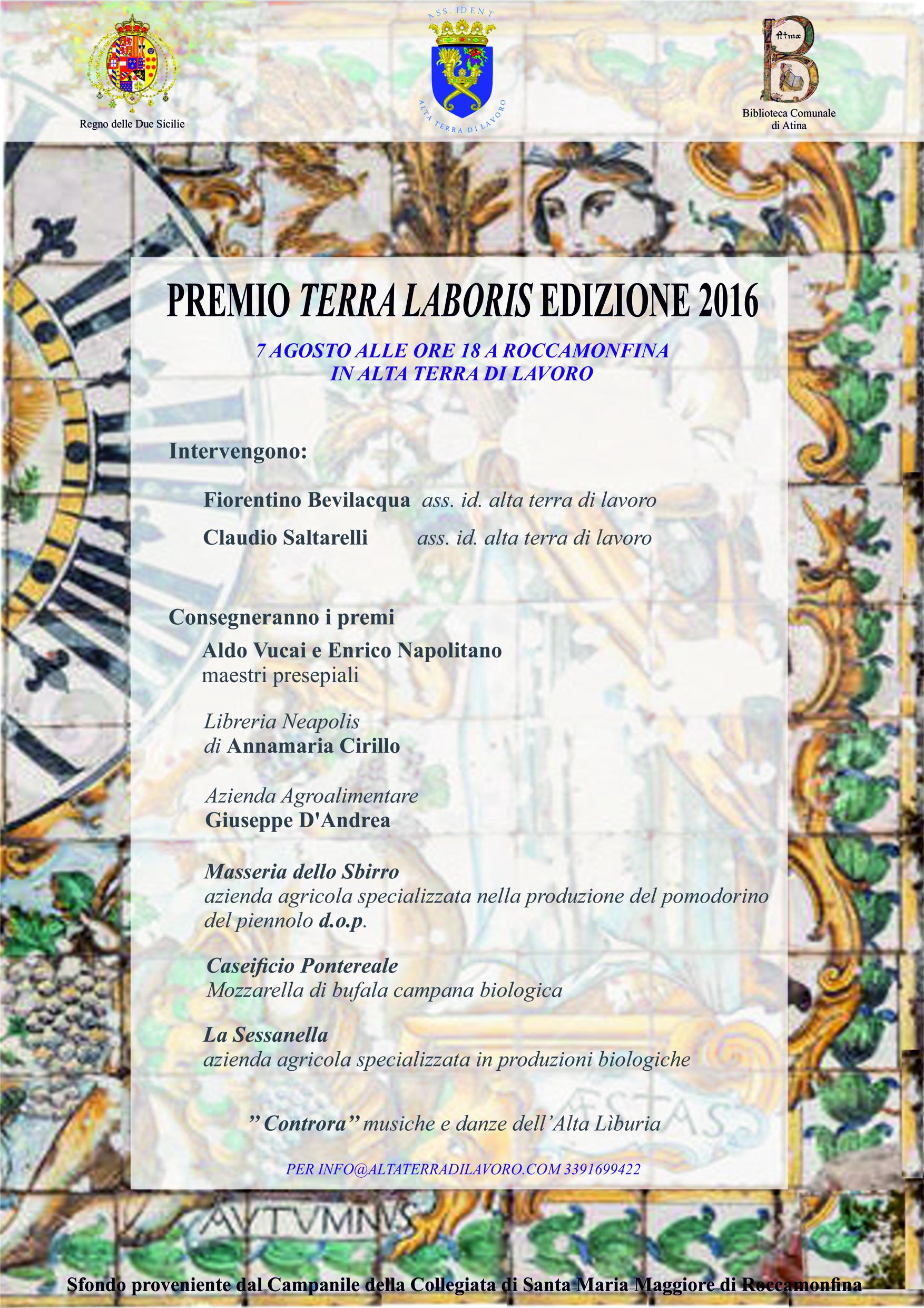 PREMIO TERRA LABORIS MANIFESTO 7 AGOSTO 20161
