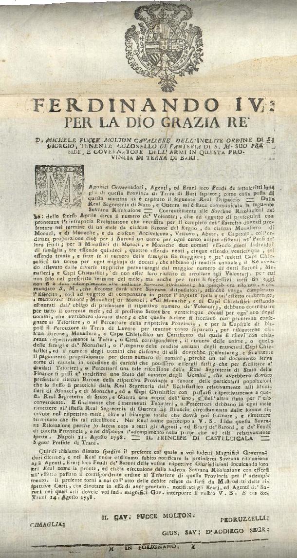 Col presente documento si ordinava l'arruolamento di nuovi volontari per il potenziamento dell'esercito - Trani 14 agosto 1798.