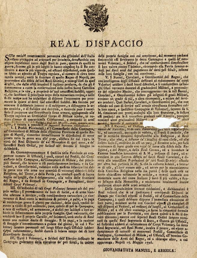 Dispaccio-reale-sulla-situazione-del-regno-e-sul-reclutamento-di-volontari-Napoli-17-maggio-1796
