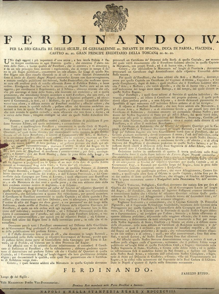 Editto-sulla-presenza-dei-forestieri-a-Napoli-firmato-dal-cardinale-Fabrizio-Ruffo-Napoli-4-aprile-1798