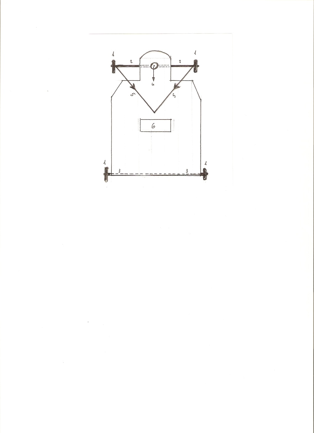 Carroccio (1 cuscinetti; 2 assale anteriore mobile; 3 assale posteriore fisso; 4 foro per alloggio perno; 5 tiranti per manovra; 6 sedile)