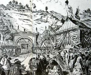 L'évêque de Nocera Inferiore à l'inauguration du tunnel du Pas de l'Orco (Codola, 1858), premier tunnel ferroviaire du monde.