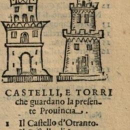 DELFINO che tiene in bocca una mezza luna, elenco di CASTELLI e TORRI nell'Arme della provincia di terra d'Otranto 1618 – Il regno di Napoli diviso in dodici provincie di Enrico Bacco