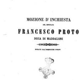 Francesco Proto Duca Di Maddaloni-Mozione del Novembre 1861