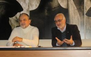 Il presidente e dil segretario dell'Associazione ALTA TERRA DI LAVORO, impegnati nei lavori del convegno di Teano, 5 dicembre 2015
