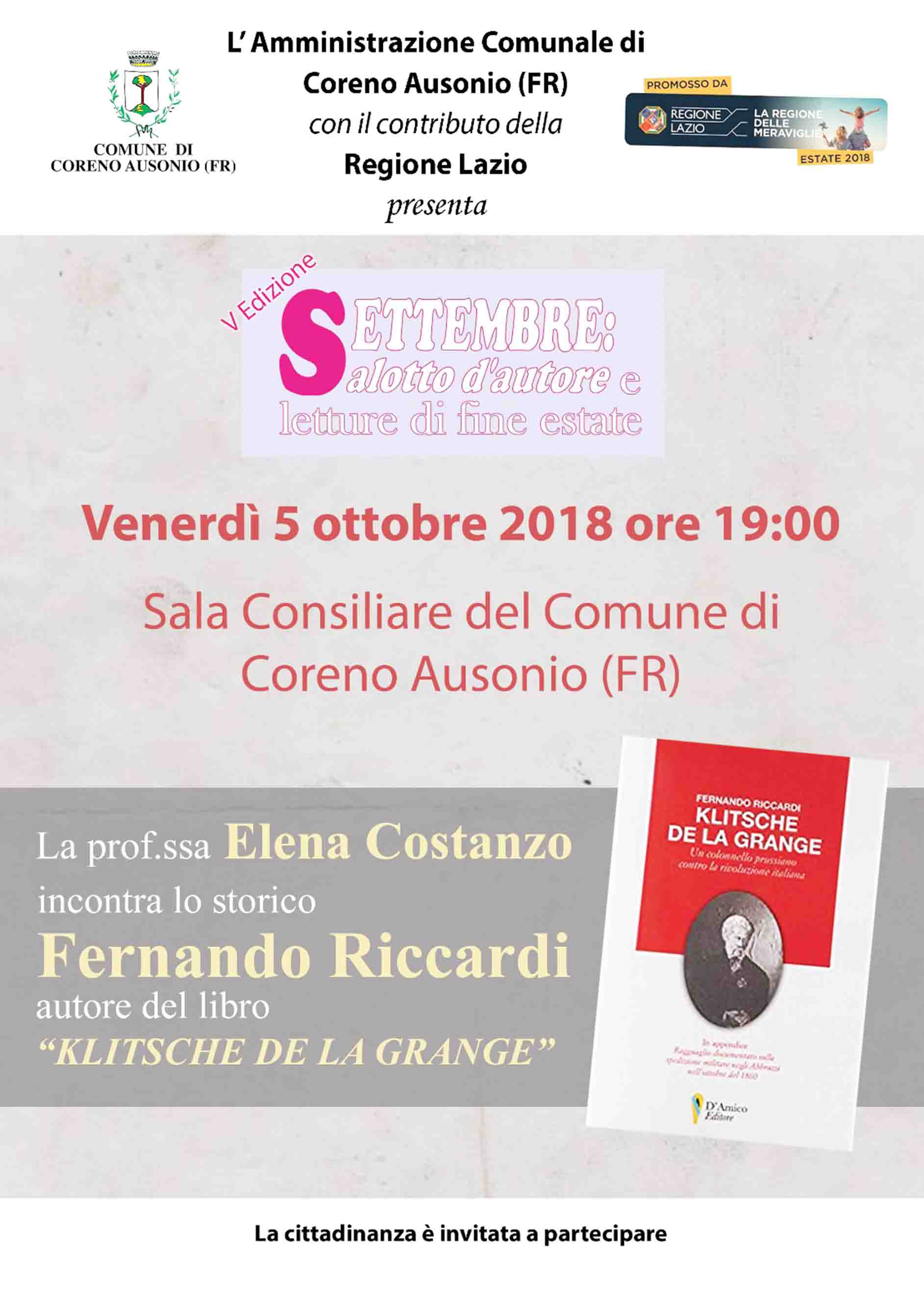 Salotto D Autore.Settembre Salotto D Autore Con Fernando Riccardi Alta