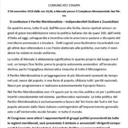 COMUNICATO STAMPA  PARTITO MERIDIONALISTA