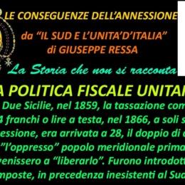 Le conseguenze dell'annessione La Politica Fiscale unitaria