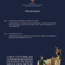 CAPUA 3 OTTOBRE 2020 COMMEMORAZIONE DEI CADUTI NELLA BATTAGLIA DEL VOLTURNO